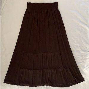 5-Tiered Dark Brown Maxi Boho Skirt